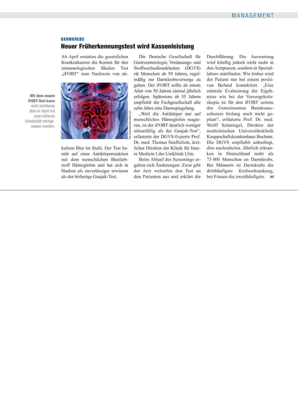 Darmkrebs Neuer Früherkennungstest Wird Kassenleistung