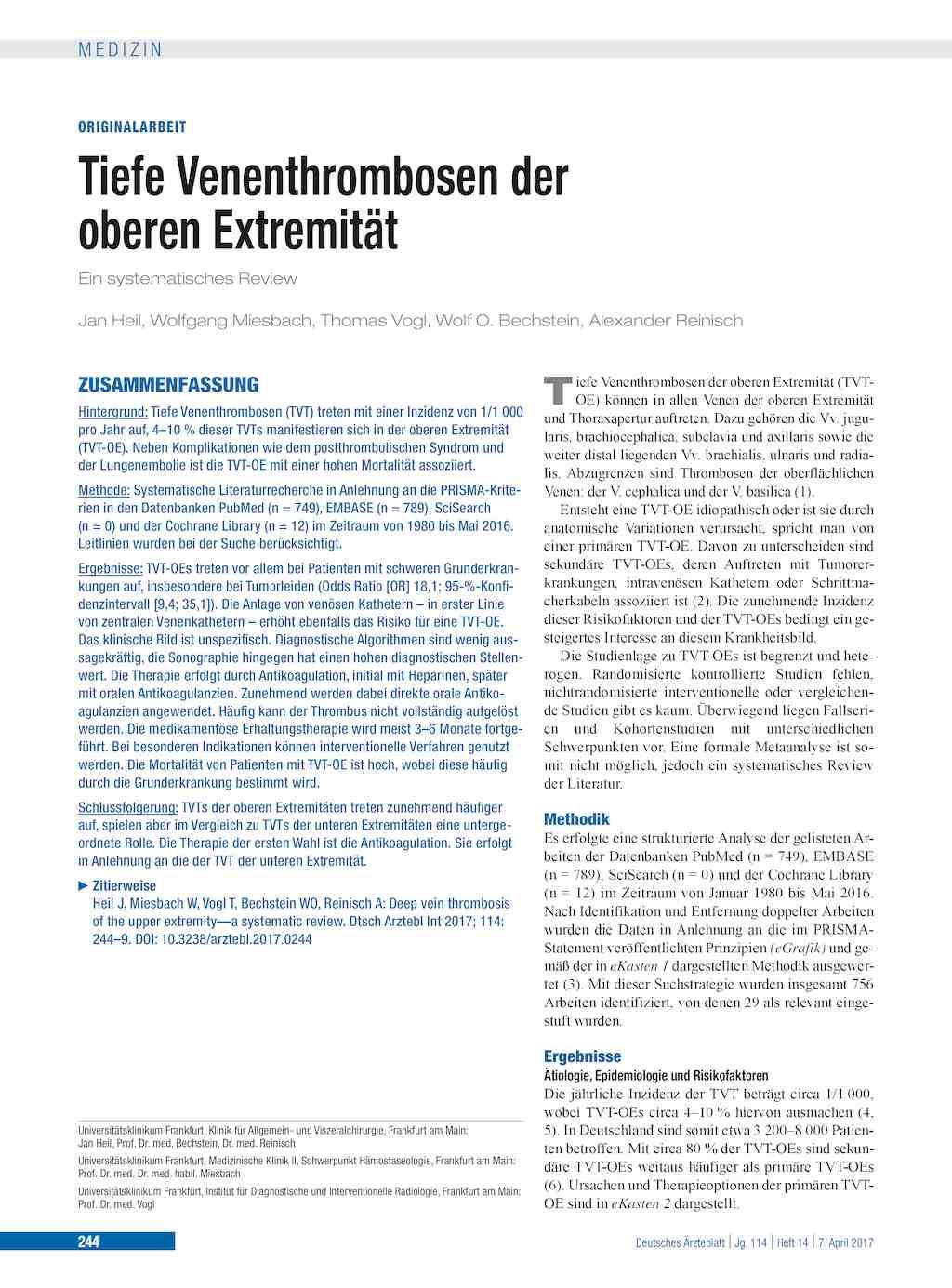 Tiefe Venenthrombosen der oberen Extremität
