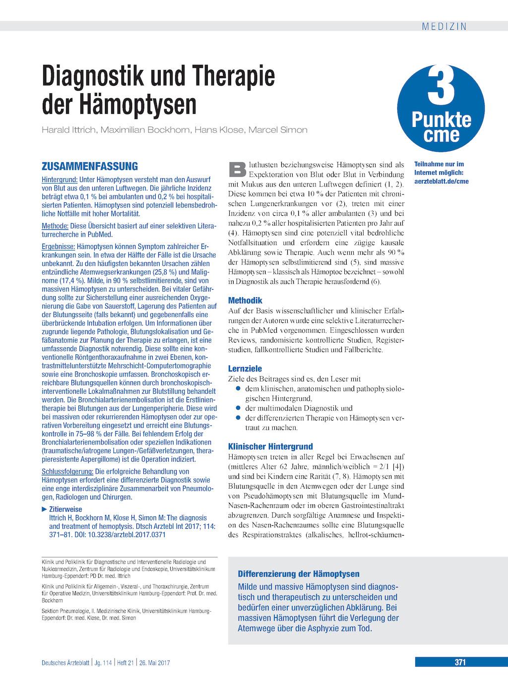 Diagnostik und Therapie der Hämoptysen