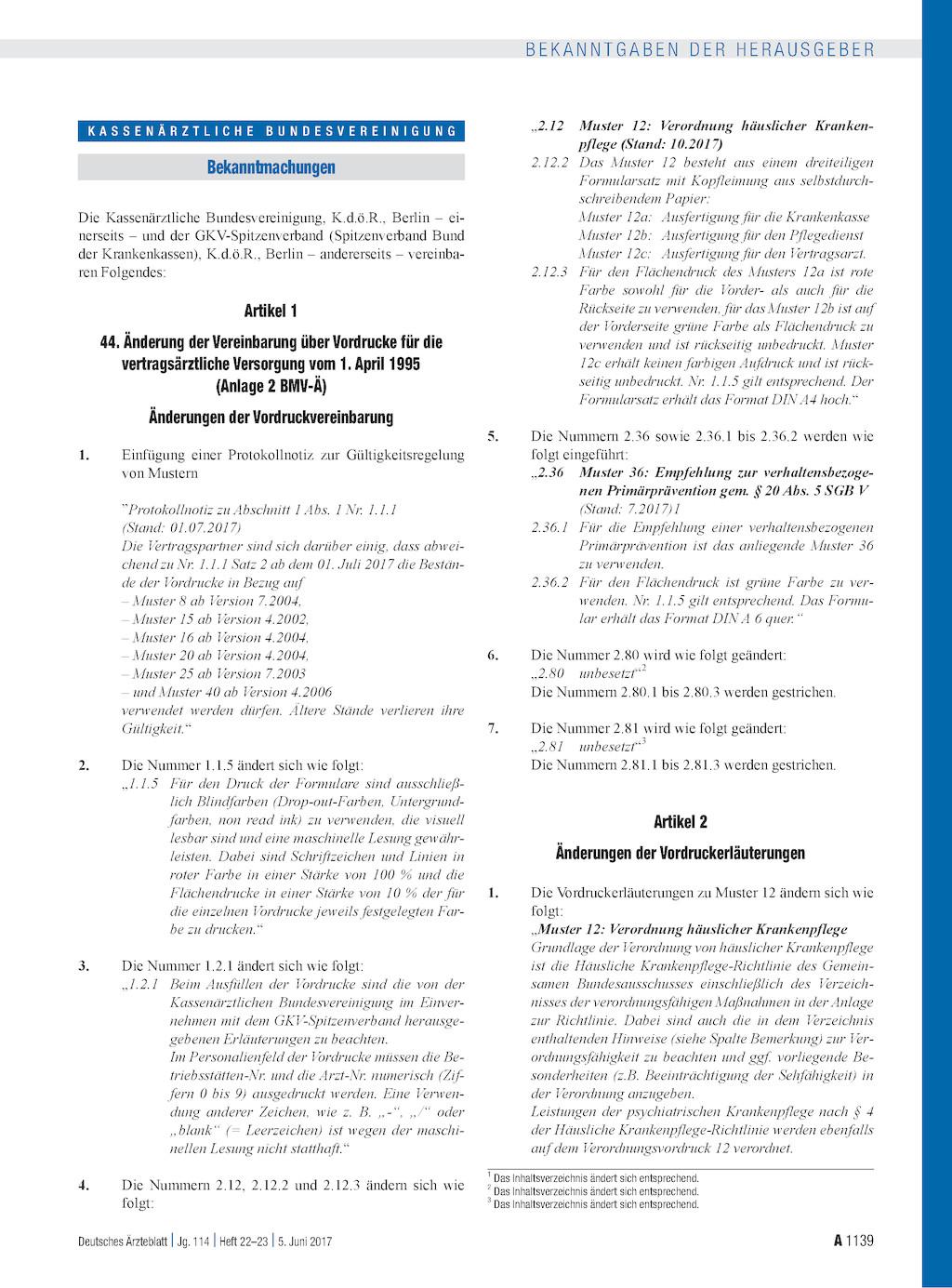 44 änderung Der Vereinbarung über Vordrucke Für Die
