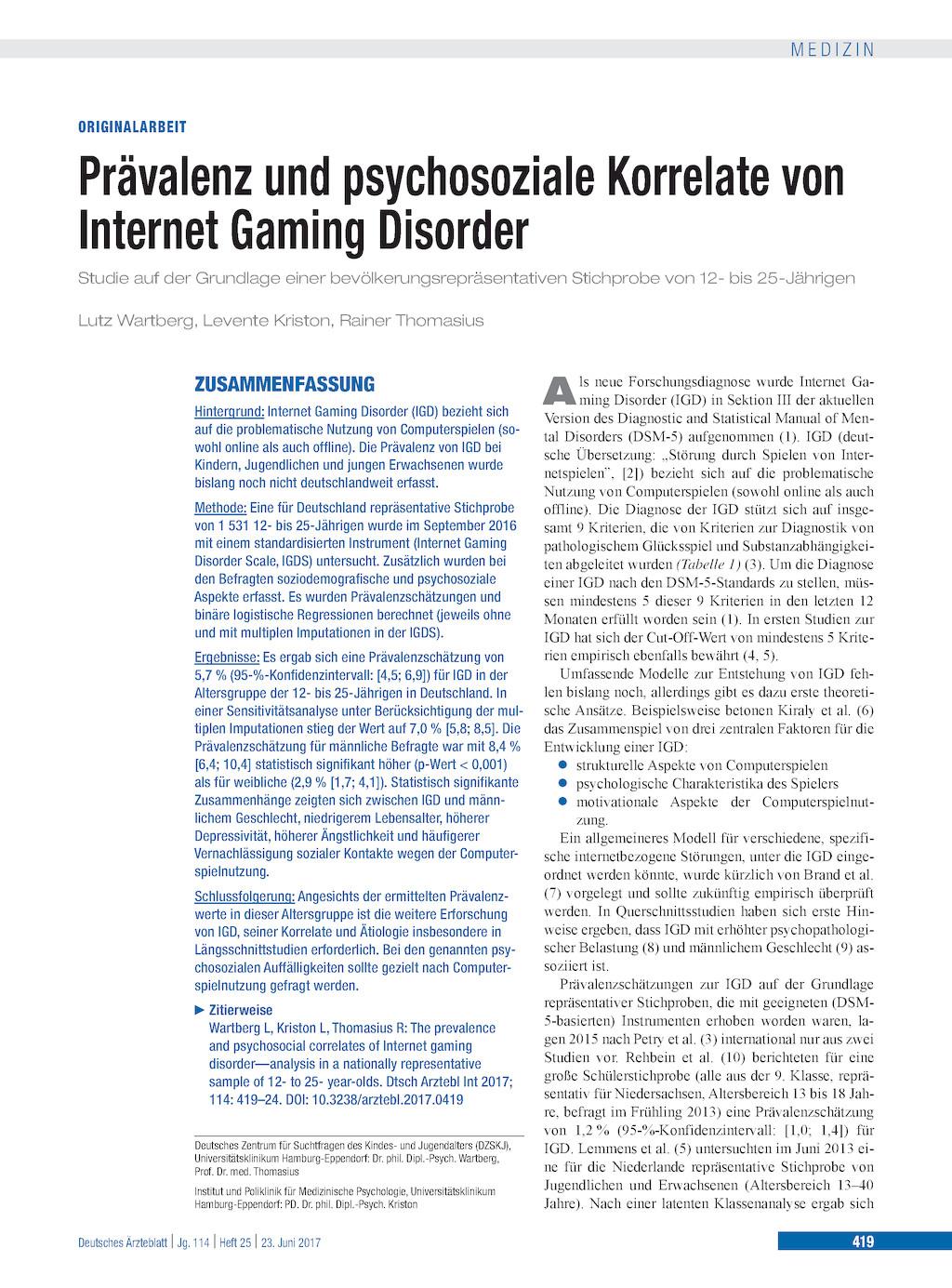 Prävalenz Und Psychosoziale Korrelate Von Internet Gaming Disorder