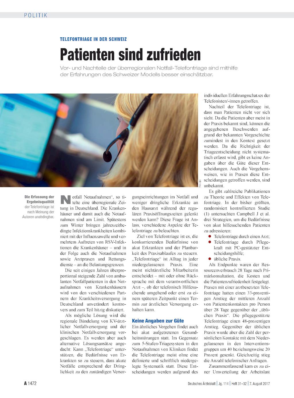 Telefontriage in der schweiz patienten sind zufrieden for Medizin studieren schweiz