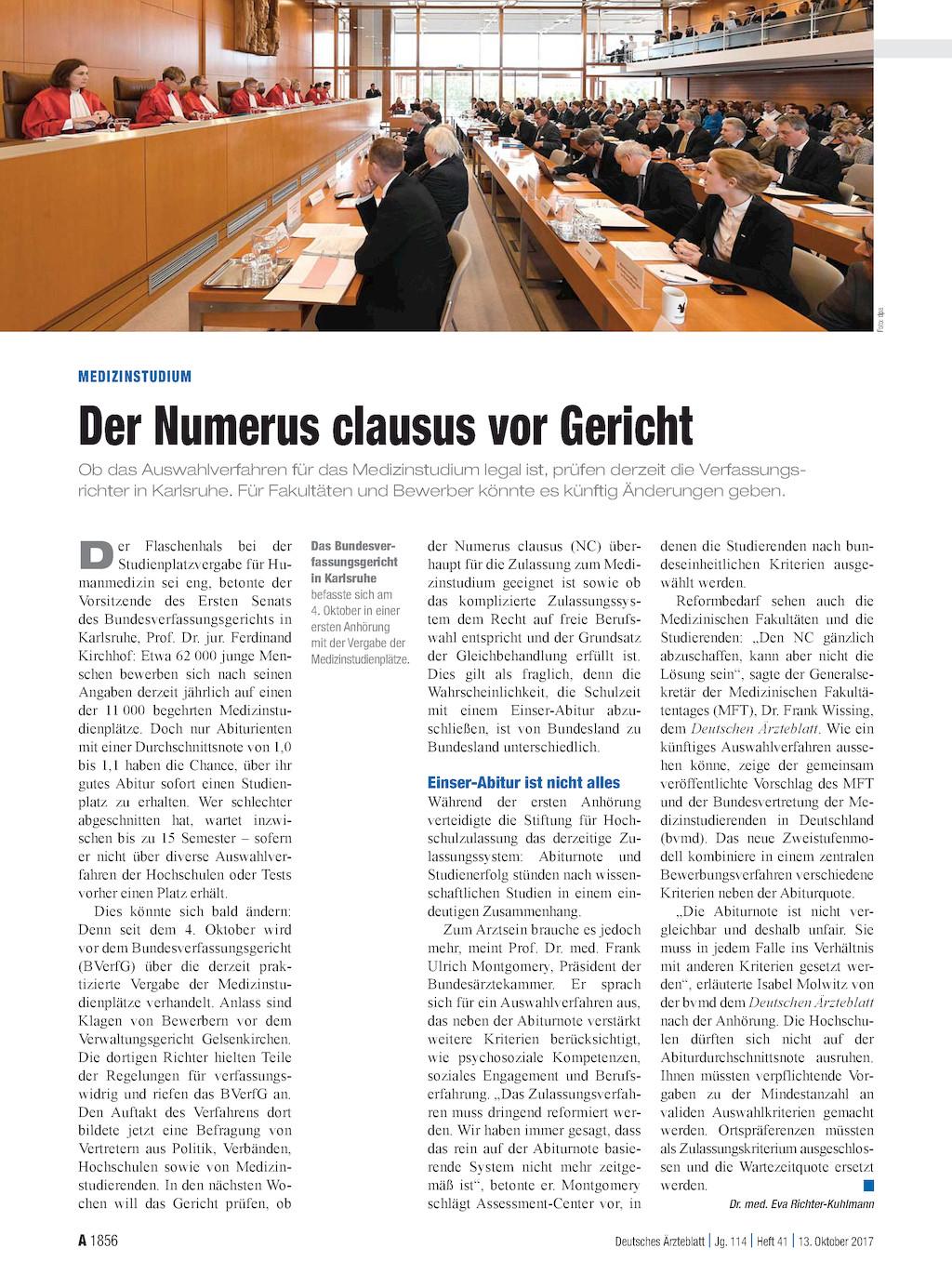 Medizinstudium der numerus clausus vor gericht for Der numerus clausus