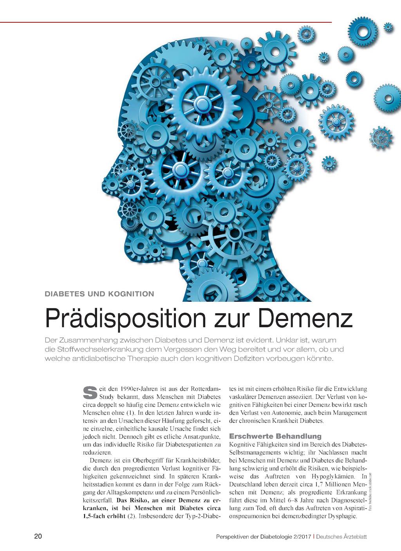 Diabetes Und Kognition Prädisposition Zur Demenz