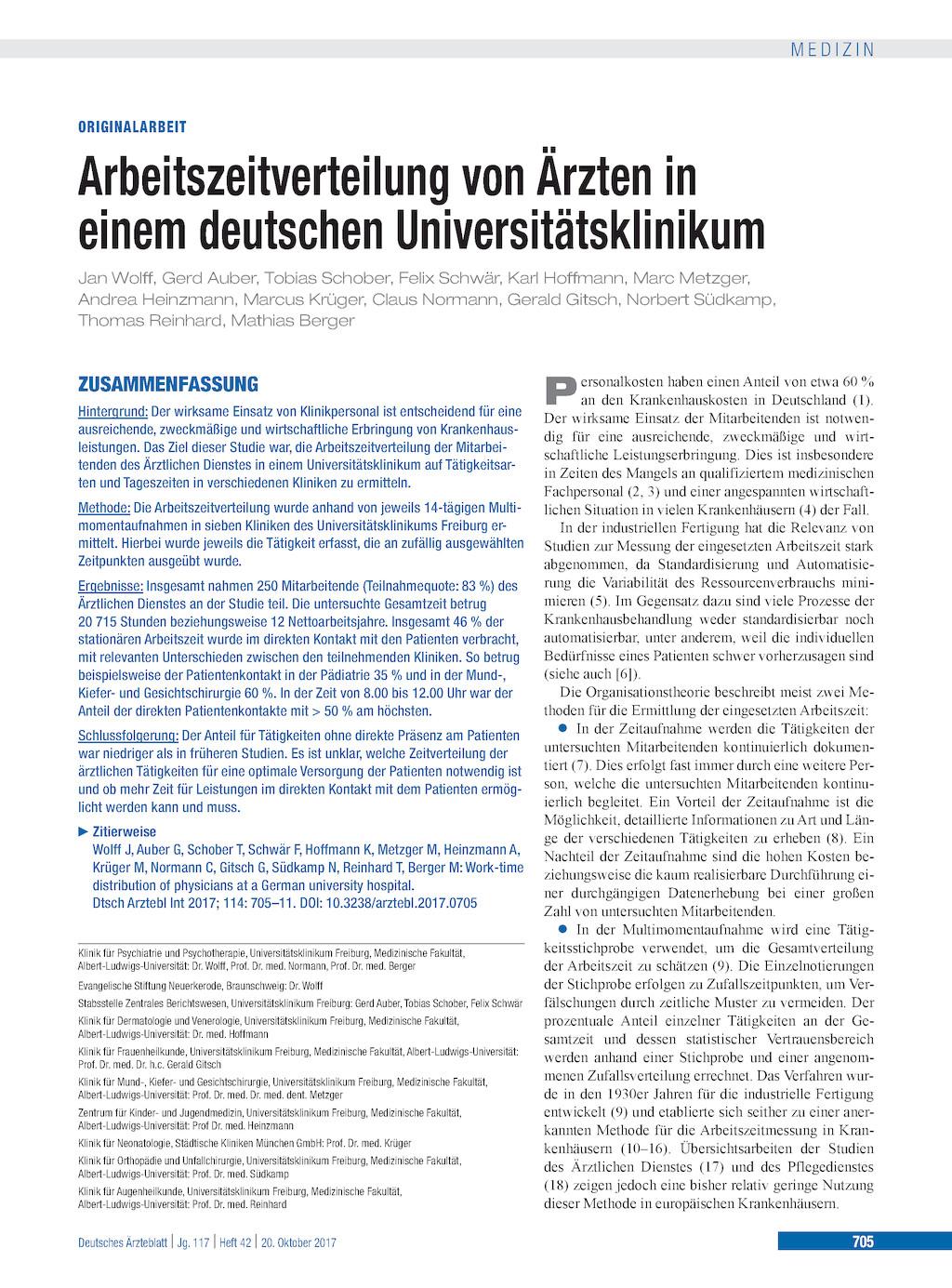 """Arbeitszeitverteilung Von """"rzten In Einem Deutschen Universitätsklinikum"""