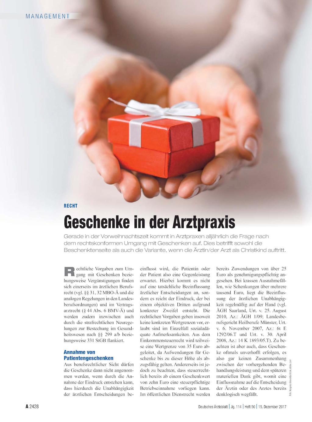 Recht: Geschenke in der Arztpraxis