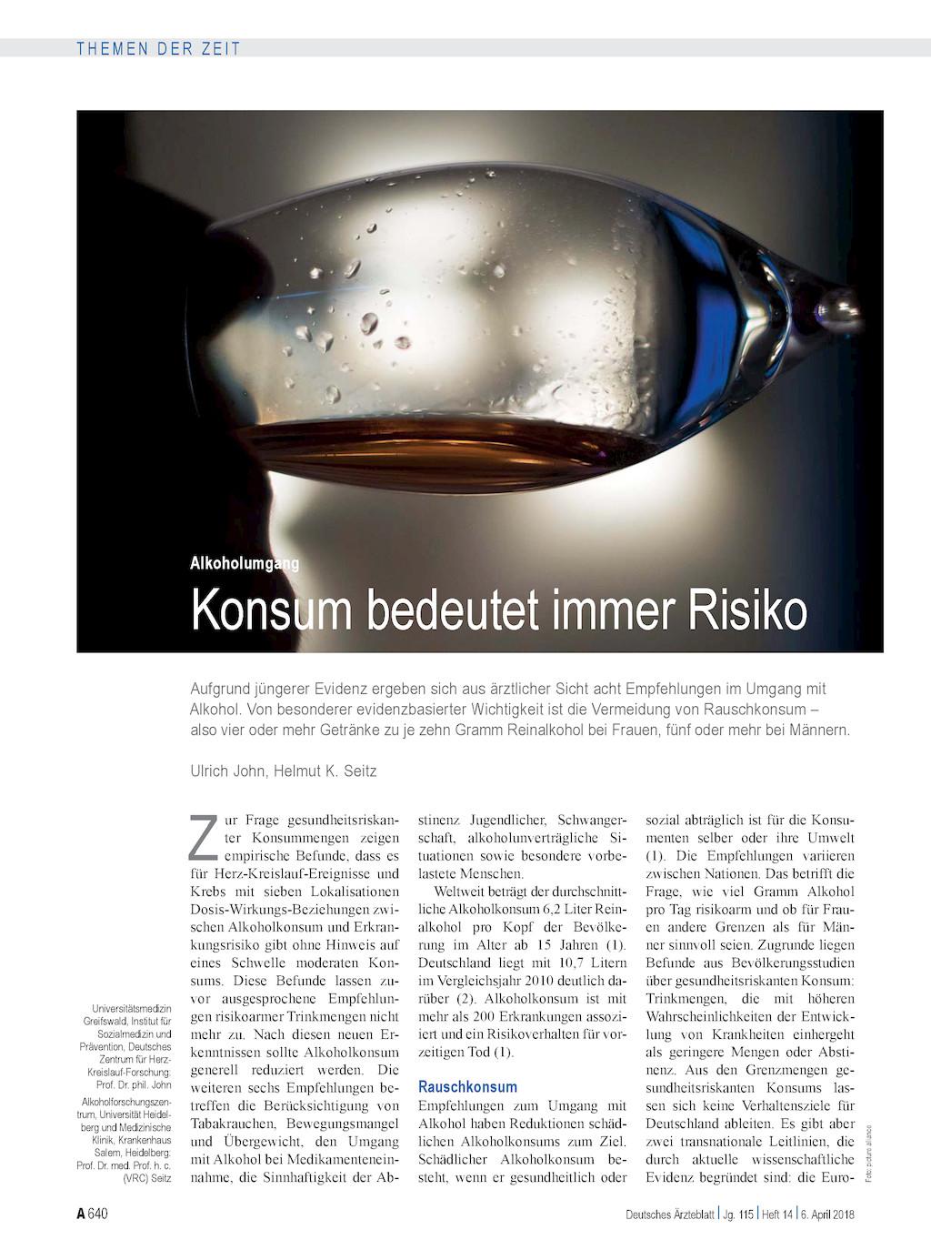 Alkoholumgang Konsum Bedeutet Immer Risiko