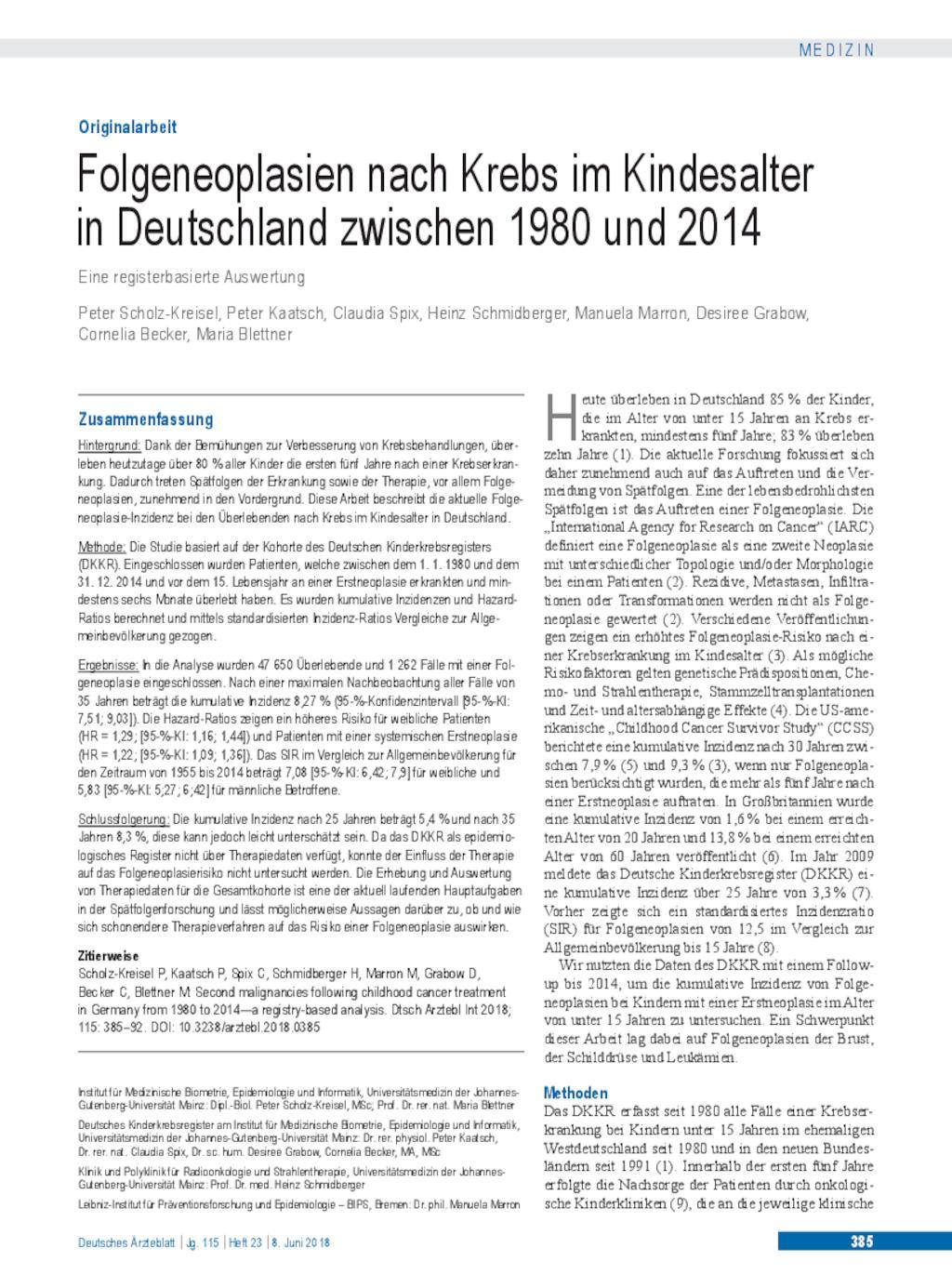 Folgeneoplasien Nach Krebs Im Kindesalter In Deutschland Zwischen