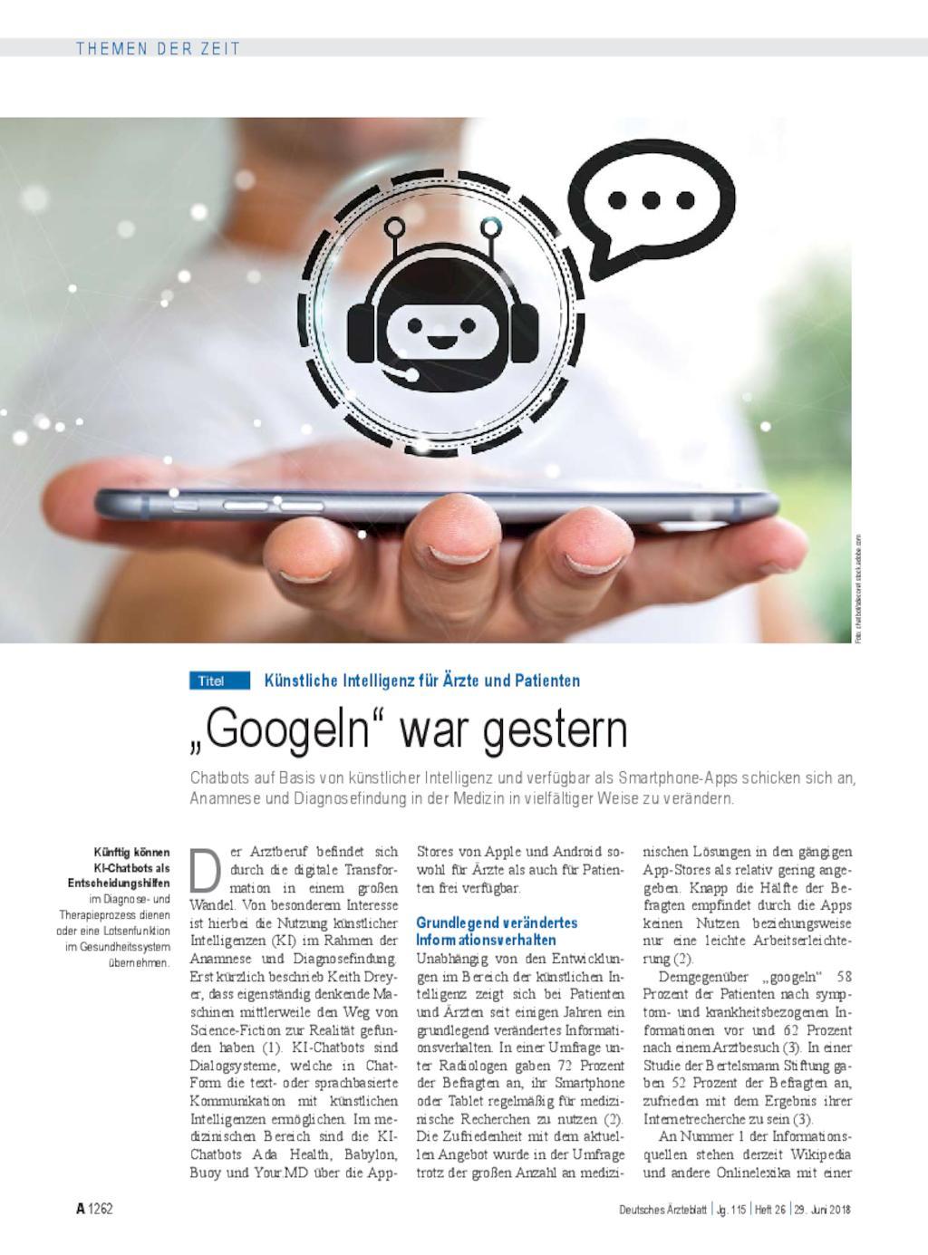 """Künstliche Intelligenz für Ärzte und Patienten: """"Googeln"""" war gestern"""
