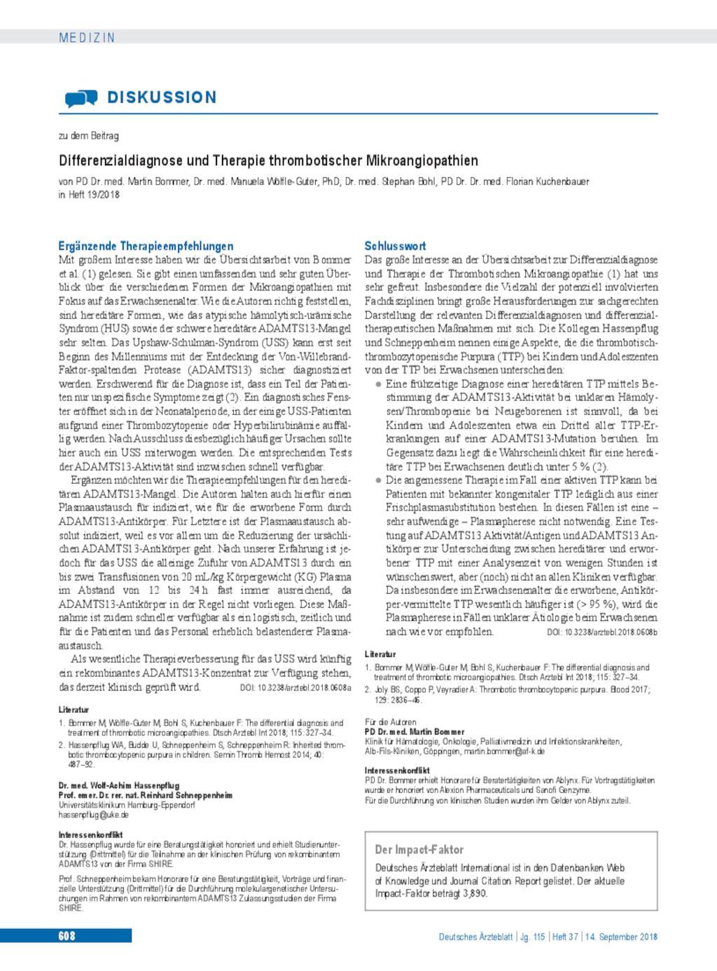 Ergänzende Therapieempfehlungen