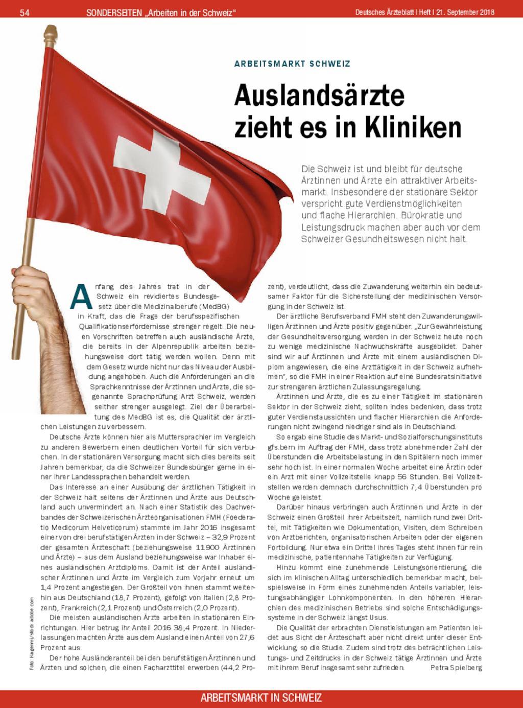 Arbeitsmarkt Schweiz Auslandsärzte Zieht Es In Kliniken