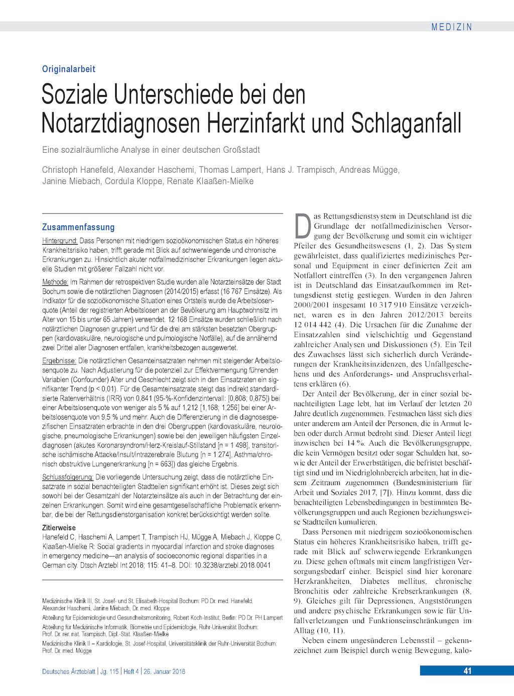 Soziale Unterschiede Bei Den Notarztdiagnosen Herzinfarkt Und
