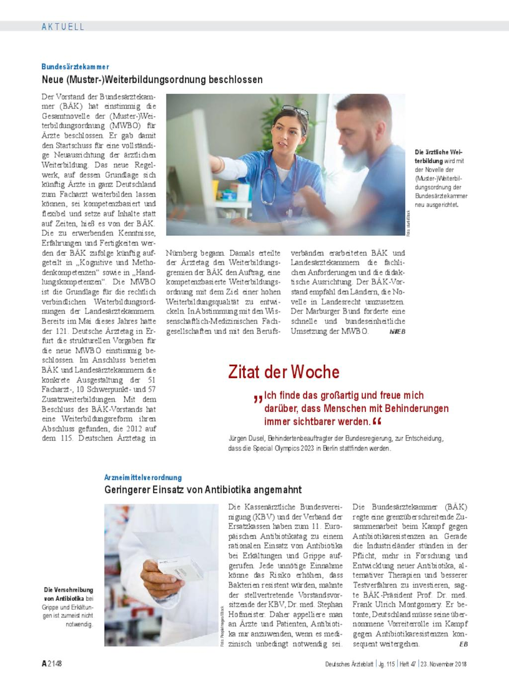 Bundesärztekammer Neue Muster Weiterbildungsordnung Beschlossen
