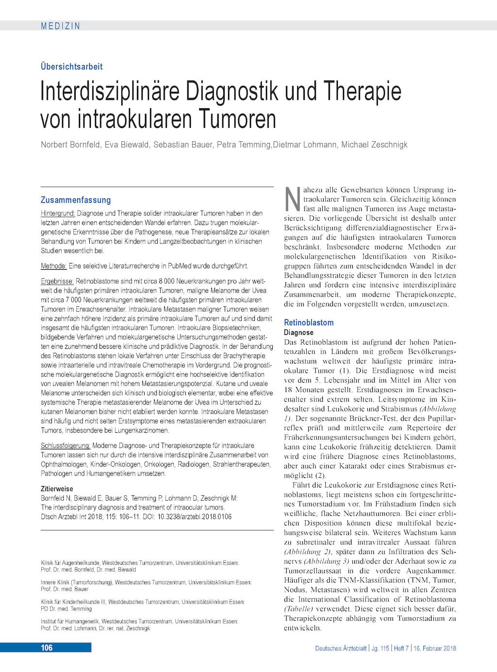 Interdisziplinäre Diagnostik Und Therapie Von Intraokularen Tumoren