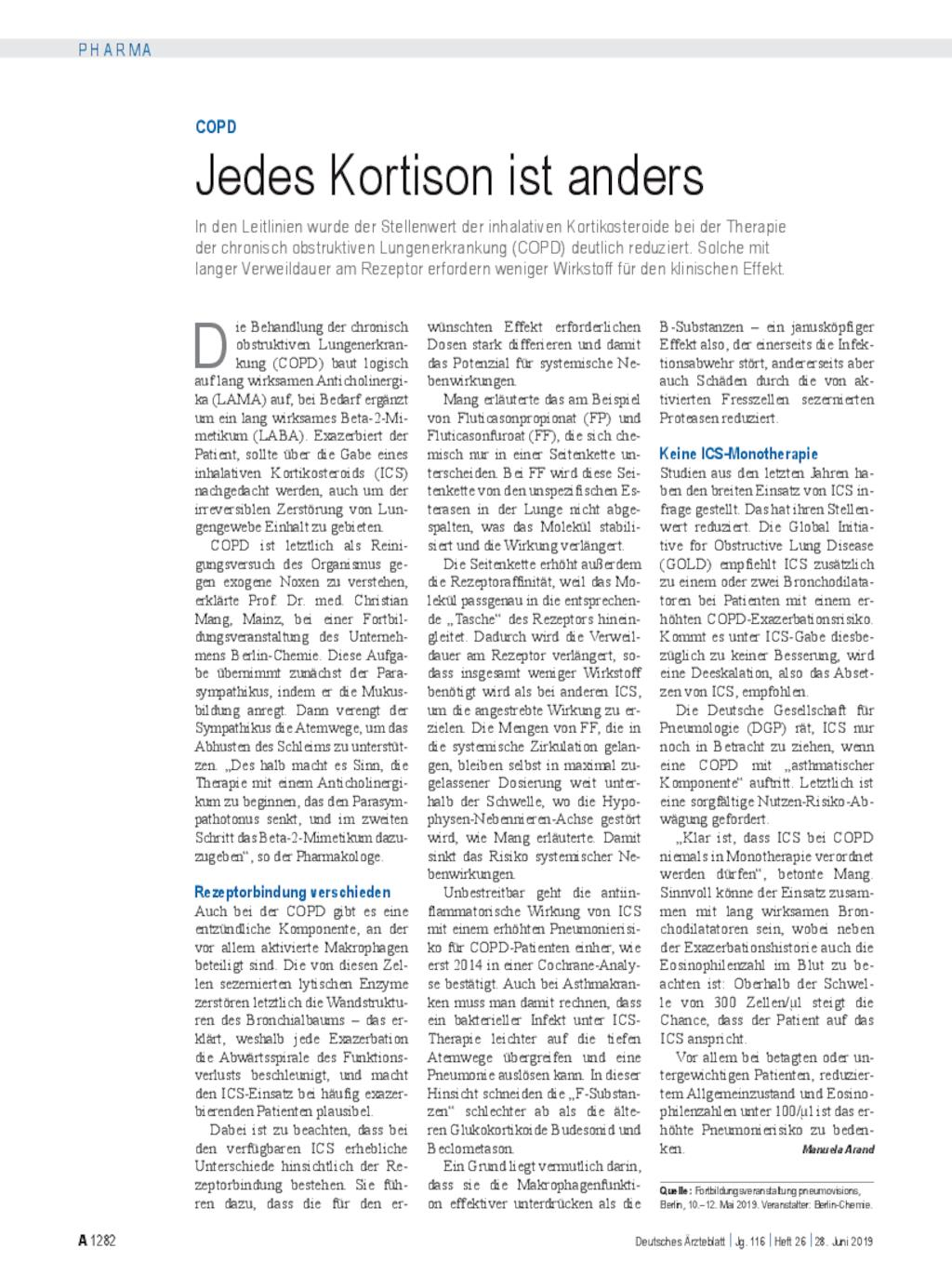 COPD: Jedes Kortison ist anders