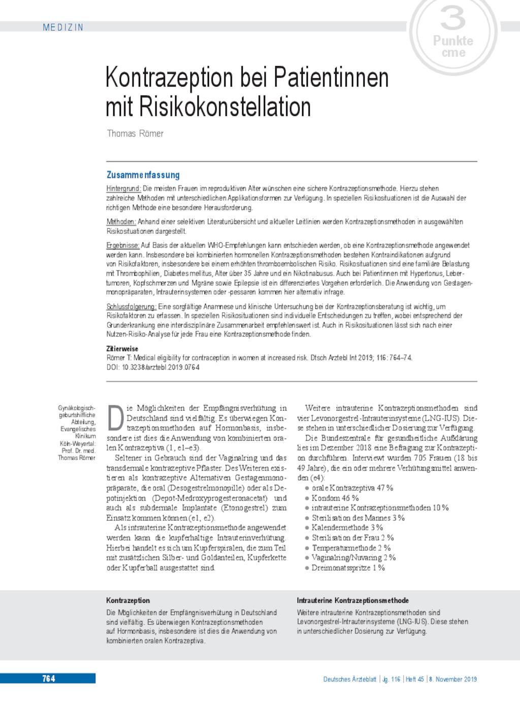 Kontrazeption bei Patientinnen mit Risikokonstellation