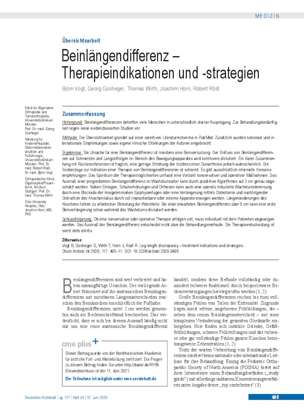 Beinlängendifferenz – Therapieindikationen und -strategien