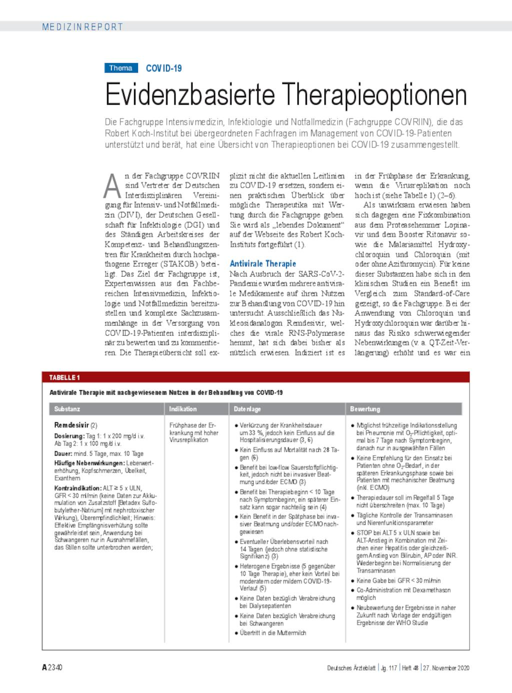 COVID-19: Evidenzbasierte Therapieoptionen