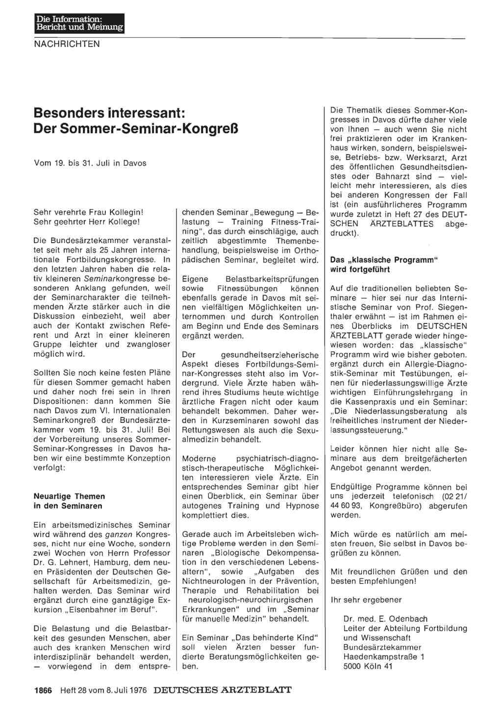 Besonders interessant: Der Sommer-Seminar-Kongreß — Vom 19. bis 31 ...