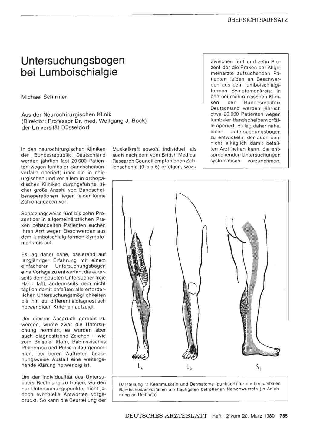 Untersuchungsbogen bei Lumboischialgie