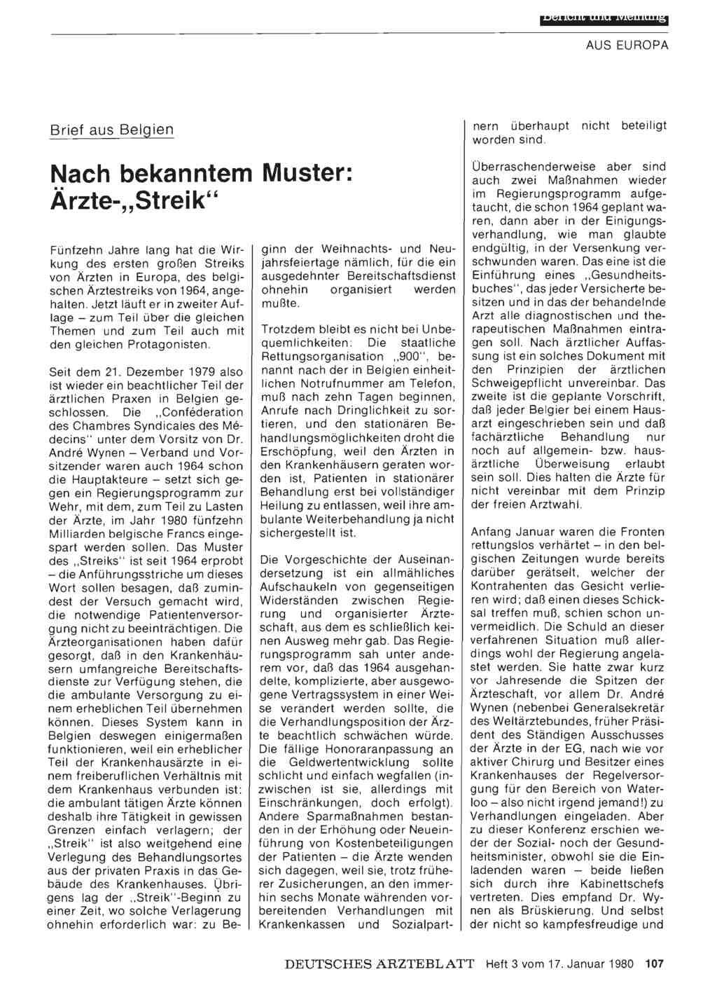 Brief Aus Belgien Nach Bekanntem Muster ärzte Streik