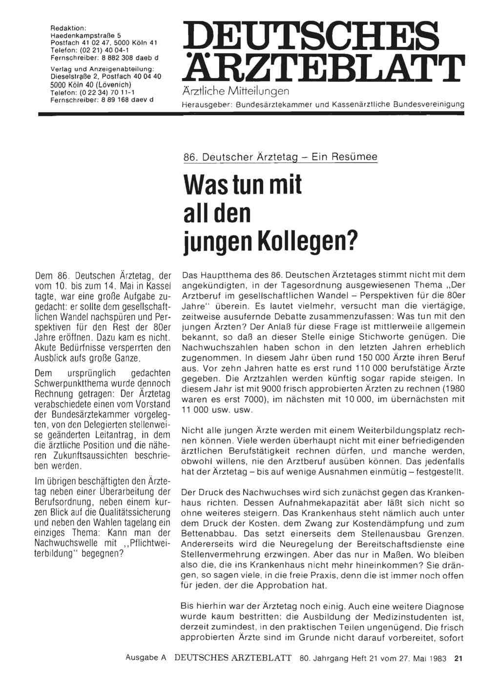 86 Deutscher ärztetag Ein Resümee Was Tun Mit All Den Jungen