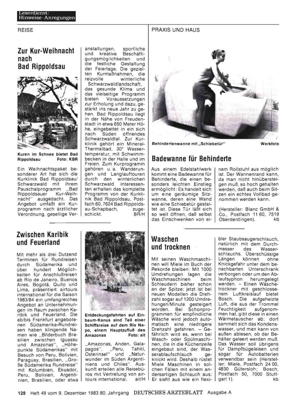 badewanne f r behinderte dtsch arztebl 1983 80 49. Black Bedroom Furniture Sets. Home Design Ideas