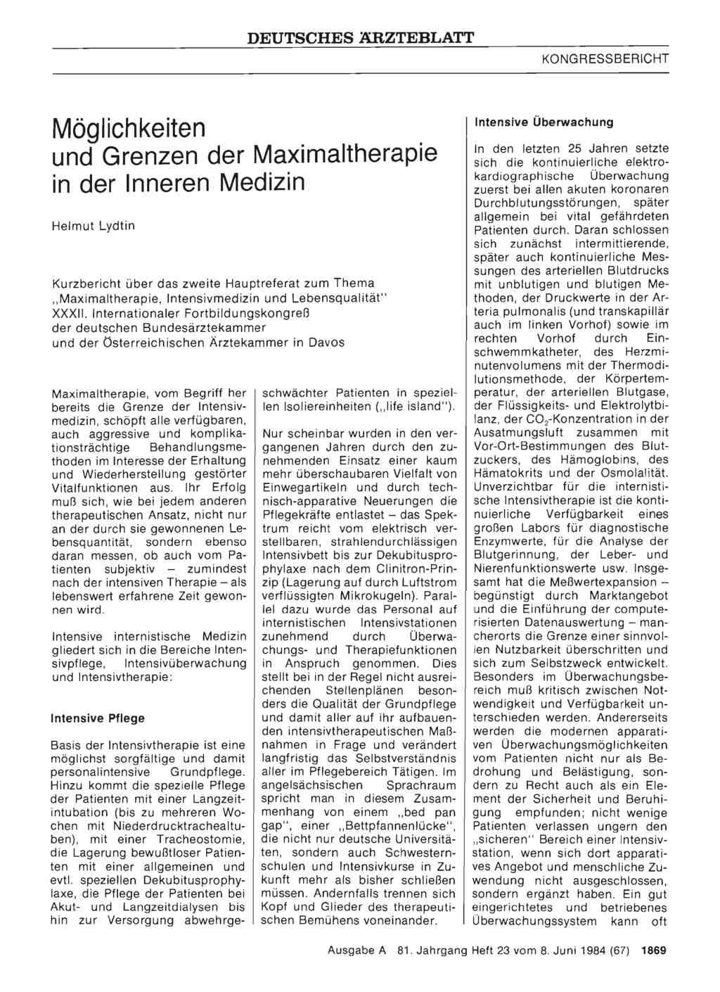 M glichkeiten und grenzen der maximaltherapie in der for Medizin studieren schweiz