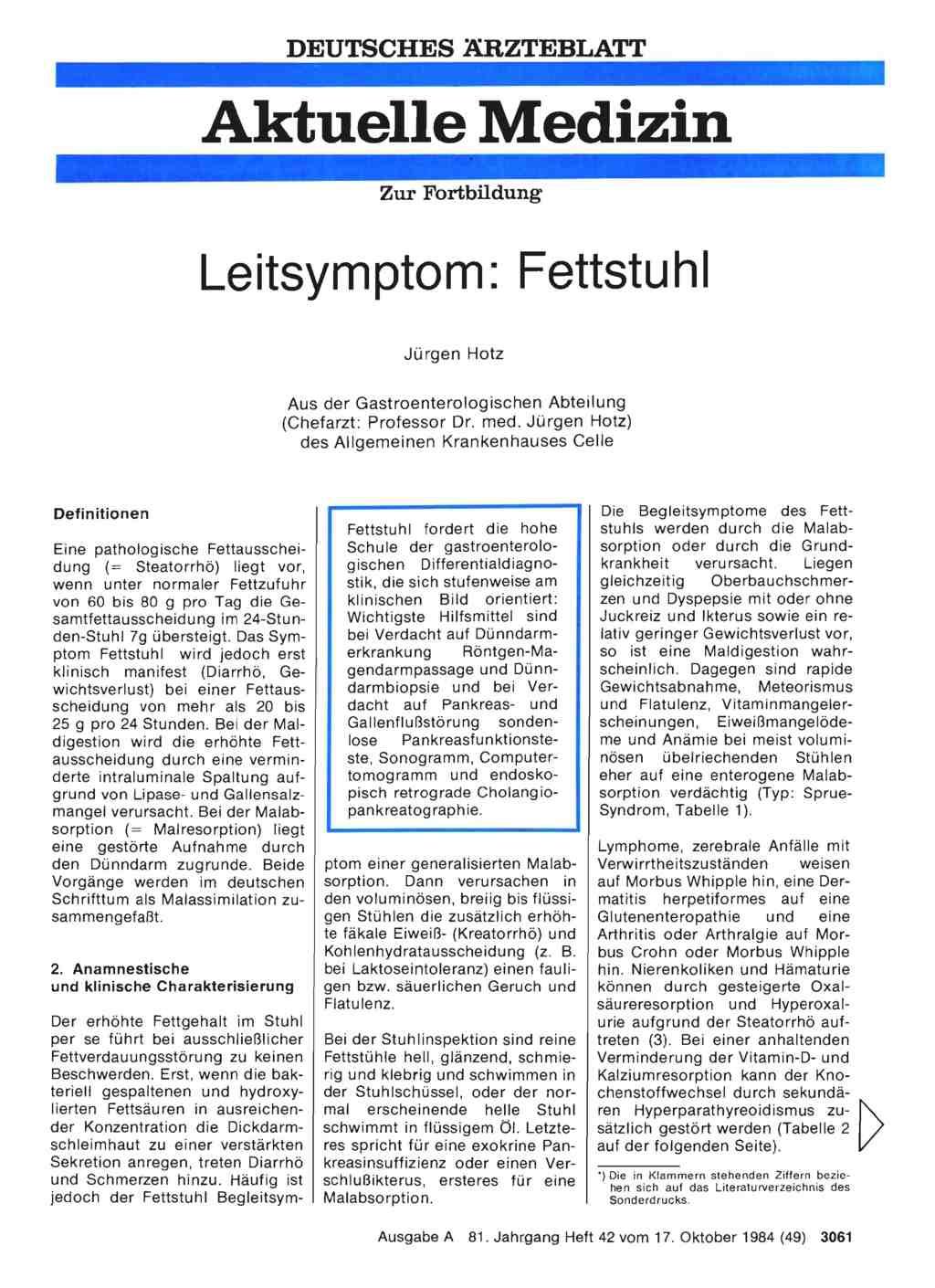 Leitsymptom Fettstuhl