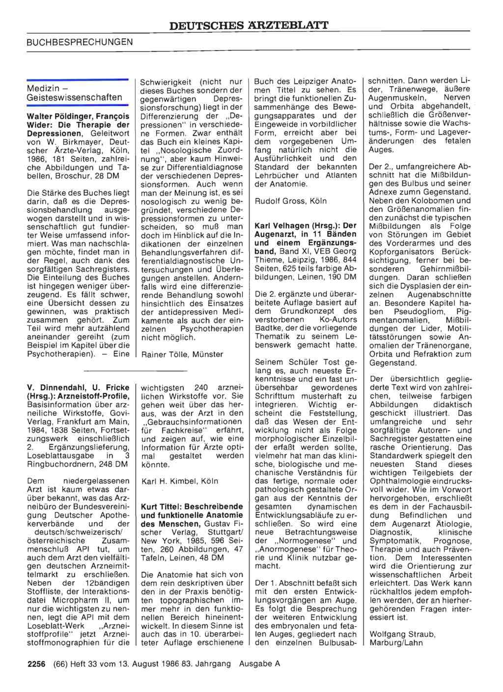 Kurt Tittel: Beschreibende und funktionelle Anatomie des Menschen