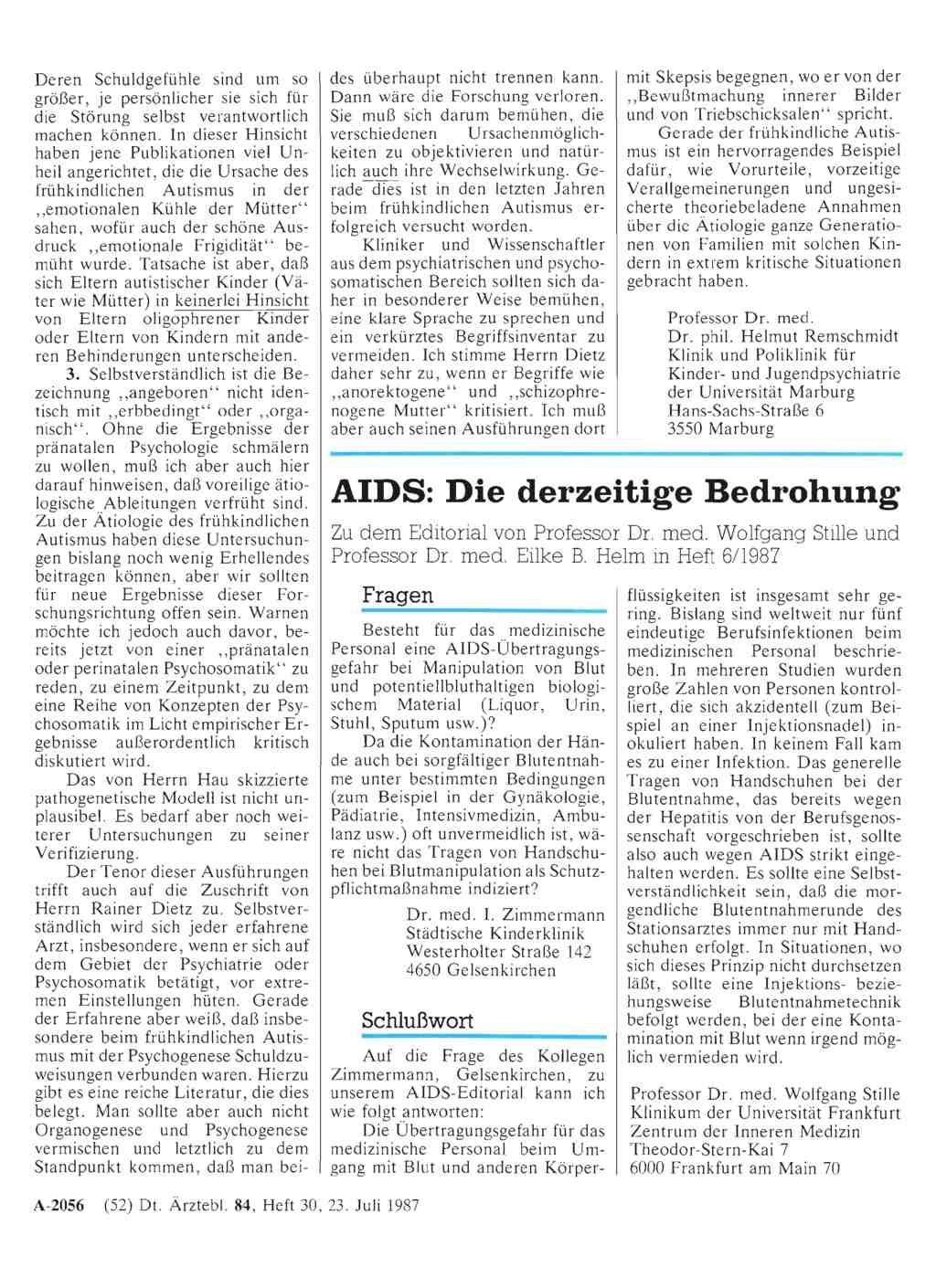 Aids Die Derzeitige Bedrohung Schlußwort