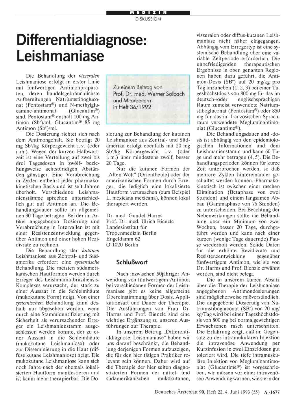 Differentialdiagnose: Leishmaniase: Schlußwort