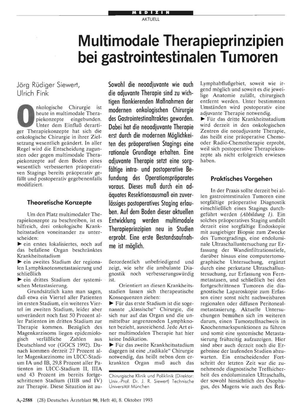 Multimodale Therapieprinzipien bei gastrointestinalen Tumoren