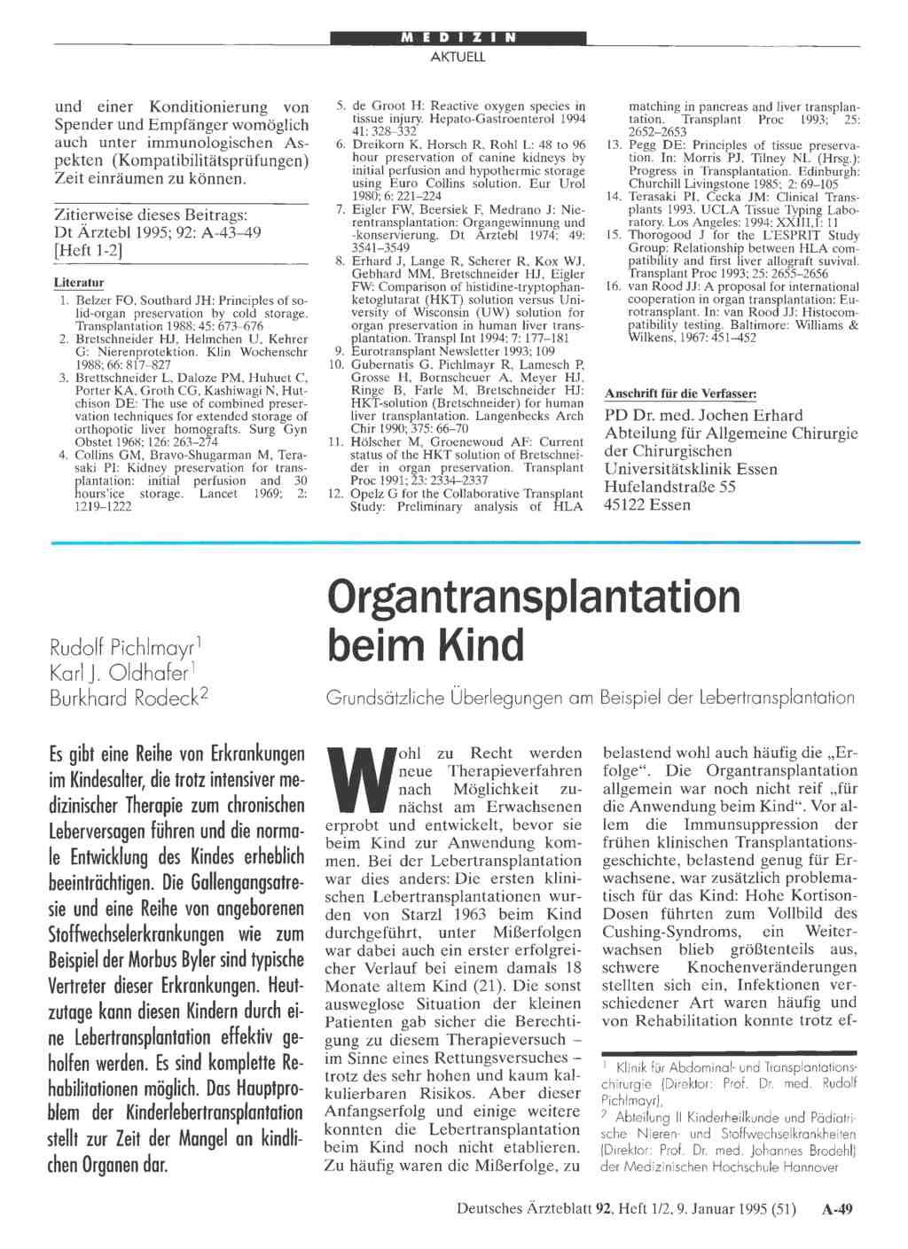 Organtransplantation Beim Kind Grundsätzliche überlegungen Am