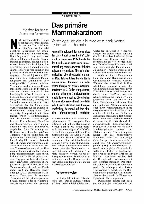 Das prim re mammakarzinom vorschl ge und aktuelle aspekte for Medizin studieren schweiz