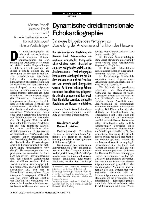 Dynamische dreidimensionale Echokardiographie: Ein neues ...
