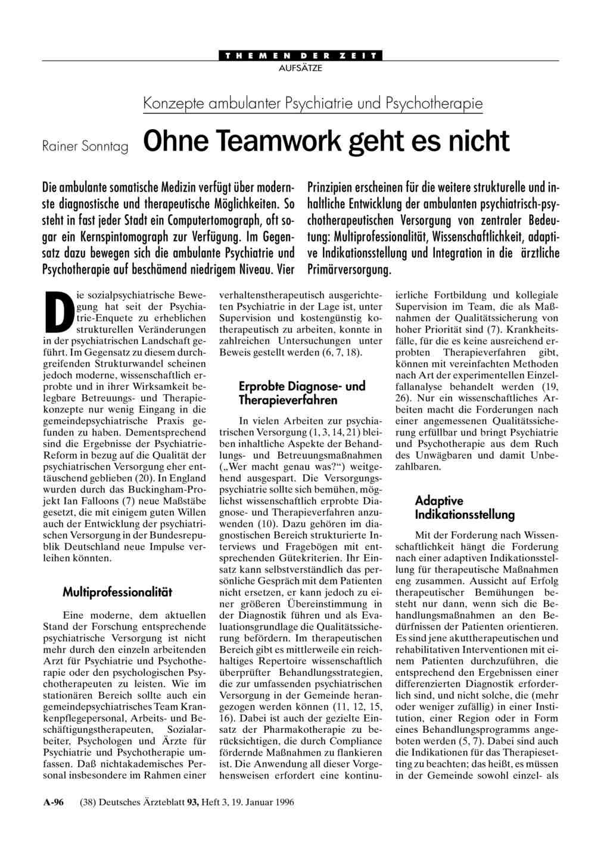 Konzepte ambulanter Psychiatrie und Psychotherapie: Ohne Teamwork ...