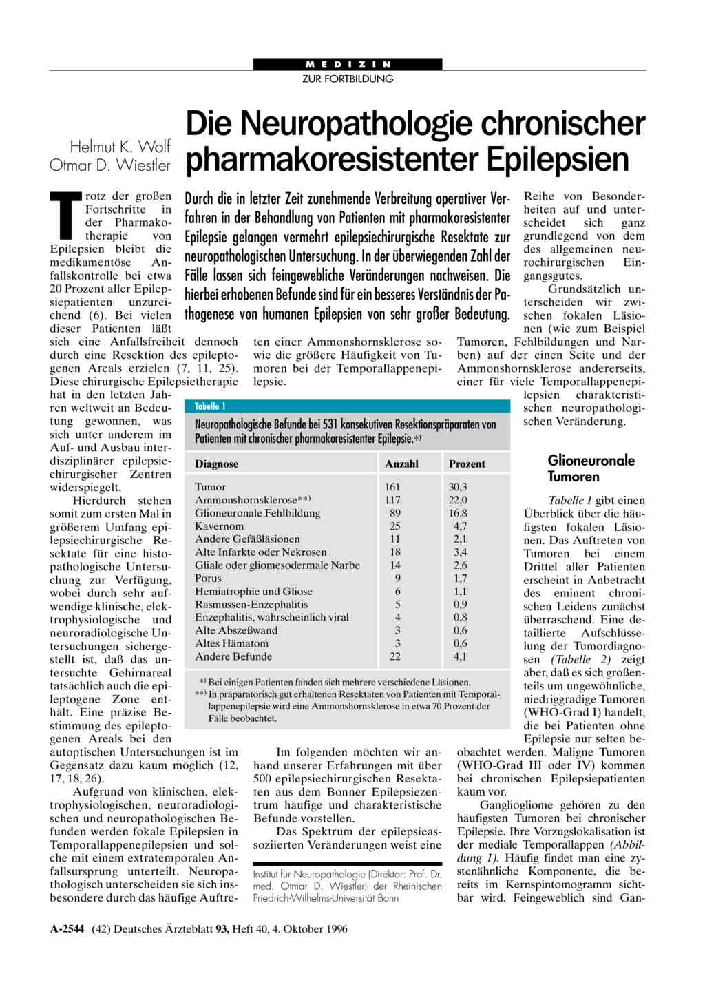 Die Neuropathologie chronischer pharmakoresistenter Epilepsien