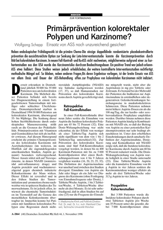 Primärprävention kolorektaler Polypen und Karzinome? Einsatz von ASS noch  unzureichend gesichert