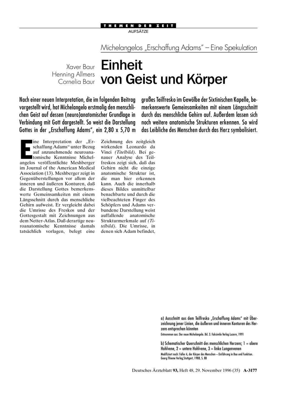 """Michelangelos """"Erschaffung Adams"""" - Eine Spekulation: Einheit von ..."""