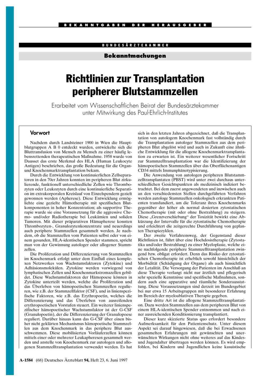 Bekanntmachungen richtlinien zur transplantation for Medizin studieren schweiz