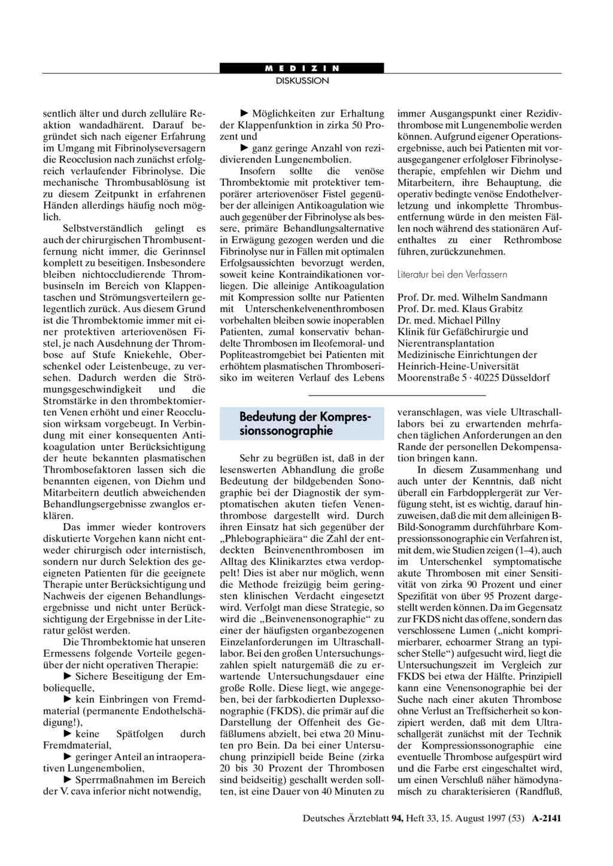 Die tiefe Venenthrombose: Bedeutung der Kompressionssonographie