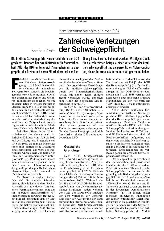 Arzt-Patienten-Verhältnis in der DDR: Zahlreiche Verletzungen der ...