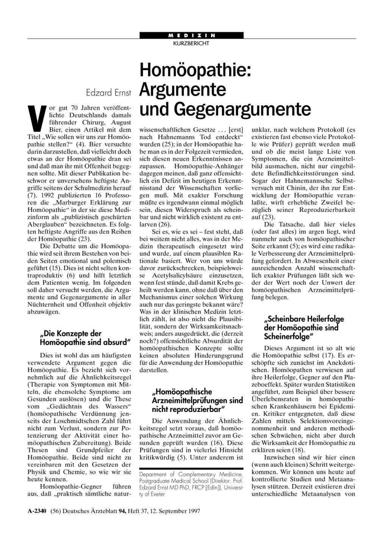 Homöopathie Argumente Und Gegenargumente