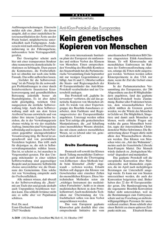 Anti-Klon-Protokoll des Europarates: Kein genetisches Kopieren von ...