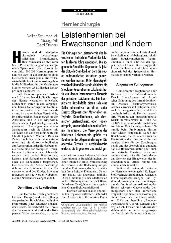 Hernienchirurgie: Leistenhernien bei Erwachsenen und Kindern