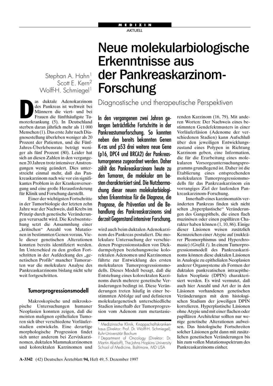 Neue molekularbiologische Erkenntnisse aus: der Pankreaskarzinom ...