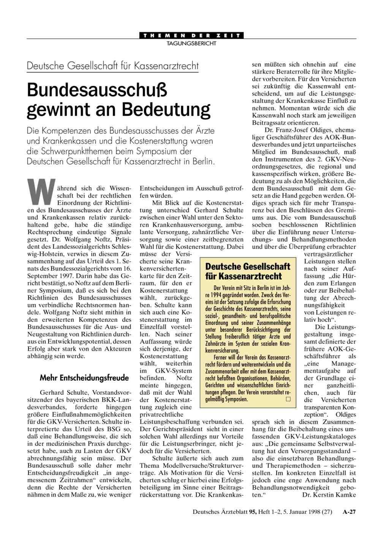 Deutsche Gesellschaft für Kassenarztrecht: Bundesausschuß gewinnt an ...