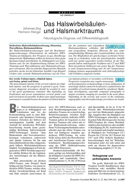 Das Halswirbelsäulen- und Halsmarktrauma: Neurologische Diagnose und ...