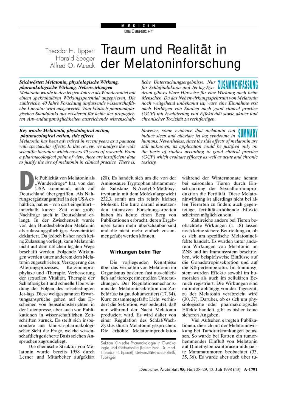 Traum und Realität in der Melatoninforschung